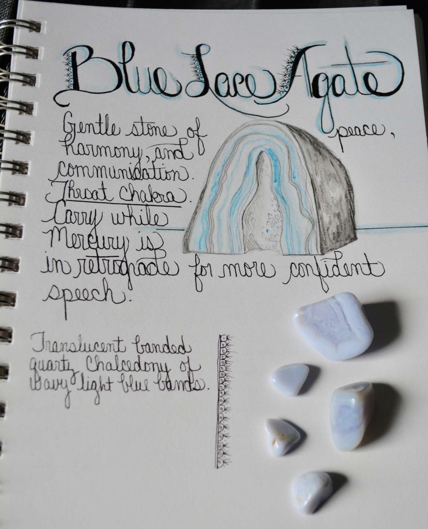 June crystal of the month is agate. Blue lace agate is a gentle stone of harmony and communication